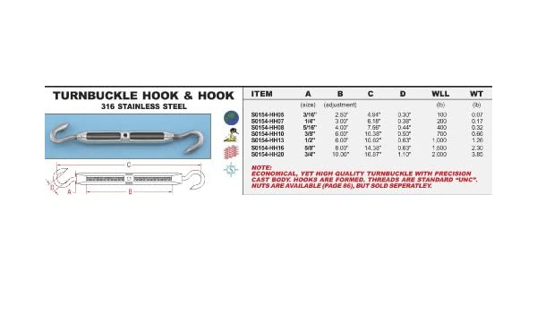 """S0154-HH10 316  STAINLESS STEEL HOOK /& HOOK TURNBUCKLE 3//8/"""""""