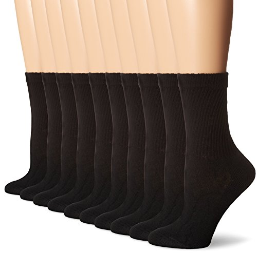 Closeout Athletic Shoes (Hanes Women's Crew Sock, Black, 9-11(Shoe 5-9) (Pack of)
