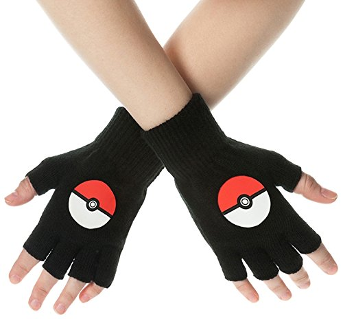 Pokemon Pokeball Fingerless Gloves (Medium, Black) by Pokémon