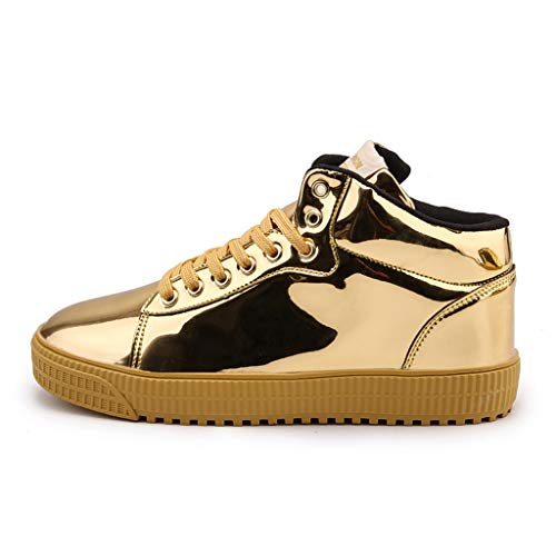 Couple High-Top Sneakers Women Men Casual Mirror Trend Sequins Running Shoes (US:7.5, Gold) (Sneaker Men Dolce)