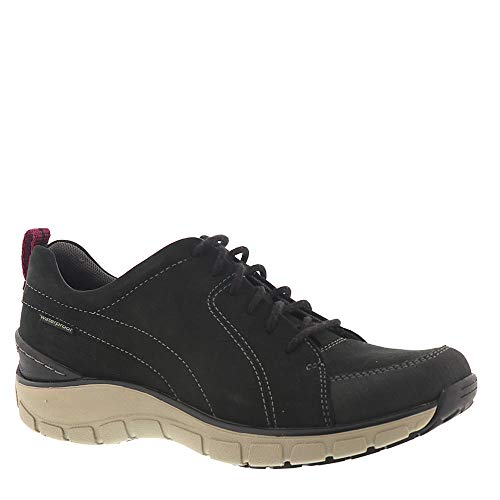 CLARKS Womens Wave Go Sneaker, Black Nubuck/Leather Combi, Size 10 (Wave Womens Clarks)