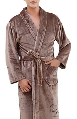 WSPLYSPJY Mens Winter Turkish Terry Textile Robe Thick Bathrobe Coffee XL