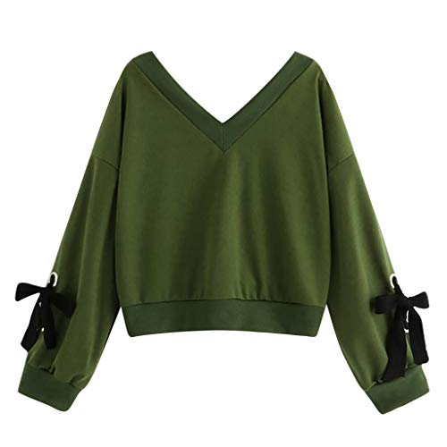 Joopee Fashion Women Long Sleeve Sweatshirt V-Neck Casual Cotton Two-bar Print Short Blouse(XL,Green)