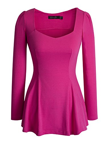 - HOMEYEE Women's Vintage Square Neck Long Sleeve Peplum Tops Blouse 542(S,Pink)