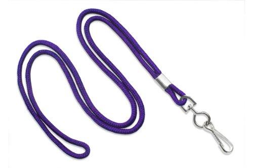 "Purple 1/8"" Round 36"" Braid Non-Breakaway Lanyard, Swivel Hook (100/bag)"