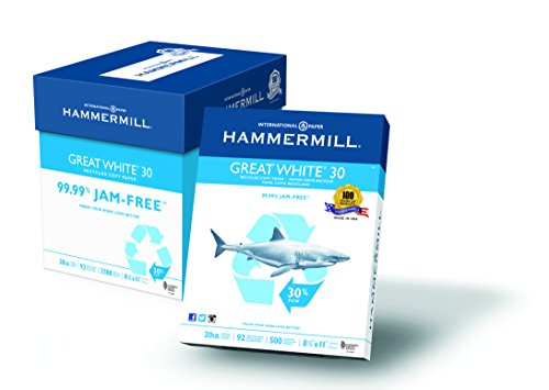 Hammermill Paper, Great White 30% Recycled Copy Paper Poly Wrap, 20lb, 8.5 x 11, Letter, 92 Bright, 2500 Sheets/5 Ream Case (086710C), Made In The (Hammermill Recycled Paper)