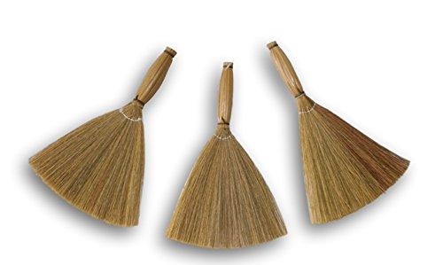 Natural Craft Brooms with Bamboo Handles and Dried Raffia Bristles - Package of 3]()