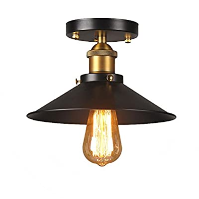 FGHOME Andante Industrial Factory Semi Flushmount Ceiling Lamp - Antique Brass One-Light Fixture with Metal Shade Exposed Hardware - 5-Inch Canopy - Downlight Modern Vintage FG2016859