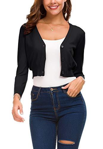 EXCHIC Women's Fashion Short Cardigan Button Down Knitted Coat V-Neck Shrug Trendy Bolero (L, Black) (3/4 Sleeve V-neck Cardigan)