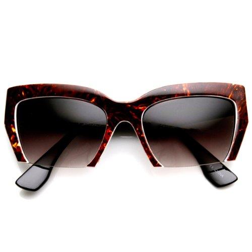 zeroUV - Womens Marbleized High Fashion Half Frame Cat Eye Sunglasses - Mui Mui