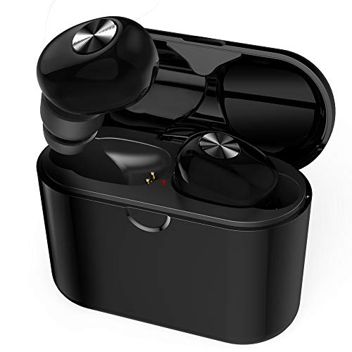True Wireless Earbuds, Bluetooth 5.0 Headphones TWS Earbuds Mini in-Ear Sport Earphones for Running 3D Stereo Sound Noise Canceling Earbuds with Built-in Mic and Charging Case for iPhone Android
