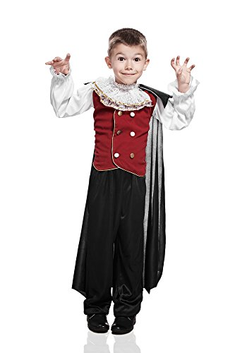Kids Boys Count Dracula Halloween Costume Prince of Night Immortal Vampire Outfit (3-6 years, (Midnight Vampire Costume Child)