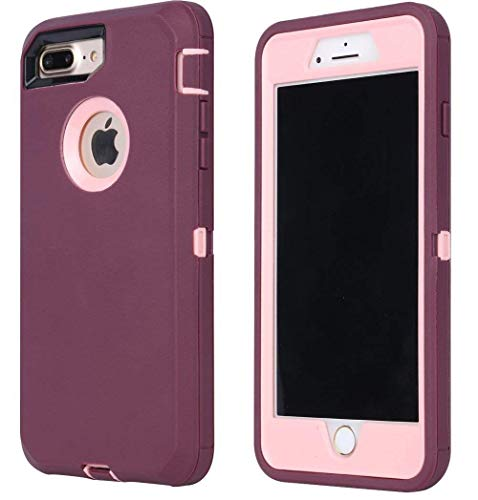 - Annymall Case Compatible with iPhone 8 Plus/iPhone 7 Plus, [Heavy Duty] Built-in Screen Protector Tough 4 in1 Rugged Shorkproof Cover for Apple iPhone 7 Plus & iPhone 8 Plus (Burgundy)