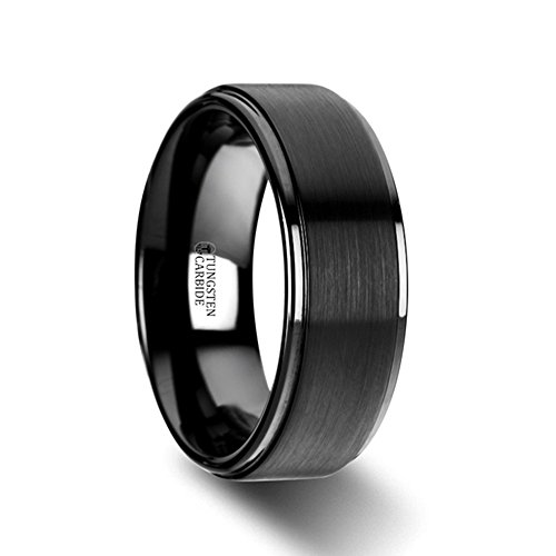 ORION Flat Black Tungsten Ring with Brushed Raised Center & Polished Edges - 8mm ()