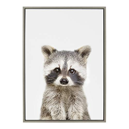 Kate and Laurel Sylvie Baby Raccoon Animal Print Portrait Framed Canvas Wall Art by Amy Peterson, 23x33 Gray