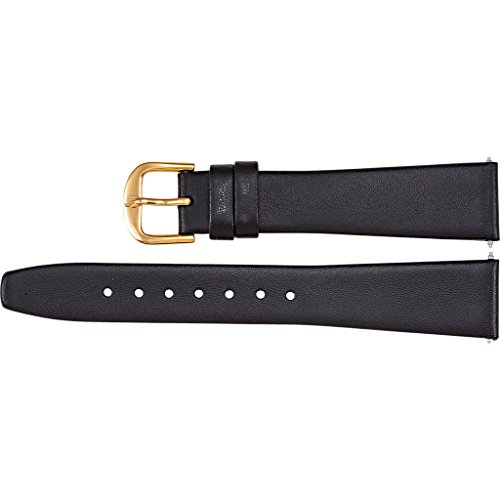 Men's 17mm Black Long Flat Genuine Calf Leather Watch Strap ()