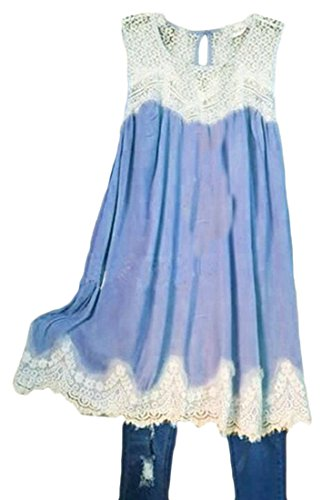Pleated Casual Crewneck Lace Hem Cromoncent Splice Sleeveless Dress Light Blue Big Women's 85qxIw86nY