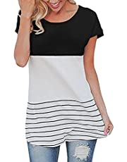 SAIANKE Women's Fashion T-Shirt, Back Lace Tops, Color Block Blouse,Long/Short Sleeve Shirts