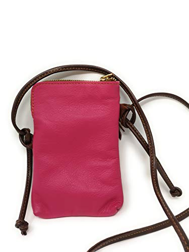 passaporto Cell Monahay Cross da Italian Marrón borsa Phone Mh9723 e Fucsia Leather viaggio Body Small rR8q8xXtwF