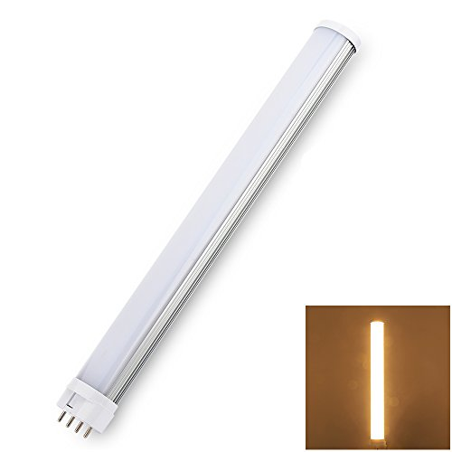 White Power Compact Bulb Square (LVJING 12W led Tube Light 2G11 Base 4 Pin, Replacement for Traditional 24W CFL Compact Fluorescent Lighting, Single Tube, Warm White 3000K, AC 85~265V)