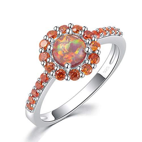 (CiNily Orange Fire Opal Garnet Silver Women Jewelry Gemstone Ring Size 5-12 (10))