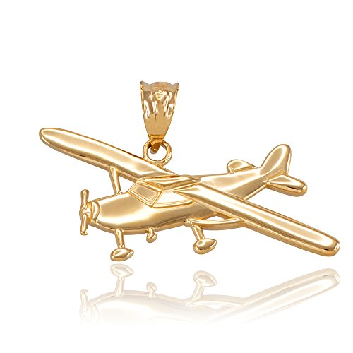 Space and Aviation Polished 14k Yellow Gold Airplane Aircraft Charm ()