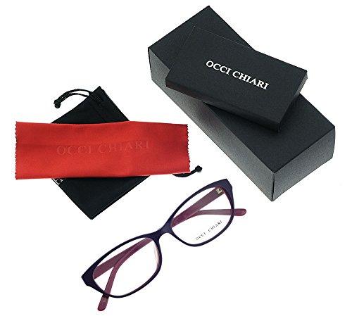 Women Fashion Rectangle Acetate Eyewear Frames Non-prescription Eyeglasses With Clear Lenses OCCI CHIARI (Purple, - Eyeglasses Acetate