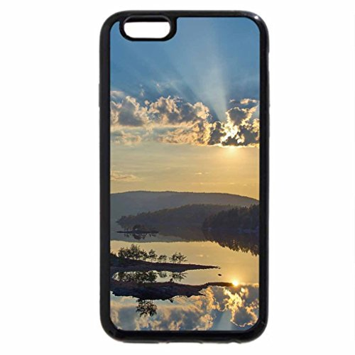 iPhone 6S Case, iPhone 6 Case (Black & White) - beautiful sky over lake