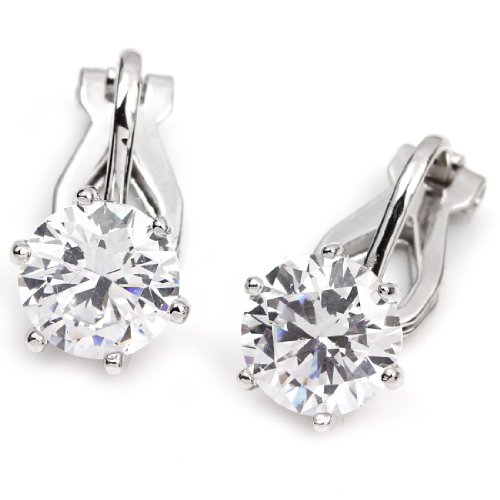 FC JORY White Gold Plated Crystal Prong Solitary Round-Cut Clip On Earrings (Clip On Earrings For Adults)