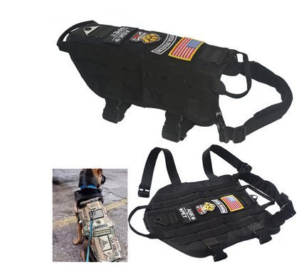 NEW TACTICAL POLICE K9 DOG VEST HARNESS MOLLE USA MILSPEC CANINE HOOK US MILITARY Vest M-XL BLACK COLOR (XL)