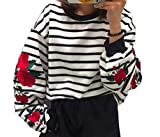 Moon Market Women Sweatshirt Top Crew Neck Long Sleeve Striped Rose Floral Embroidered Pullover Sweater (XXL) Lounge wear Nightwear Pajama Suits Blazer Outfit
