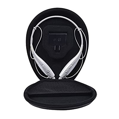 Headset Case Bag for LG Tone Pro HBS 700 730 750 760 800 900 - Headphone Carrying Case Cover Box for LG Electronics Tone Infinim Wireless Bluetooth Earbuds - Black PU Leather