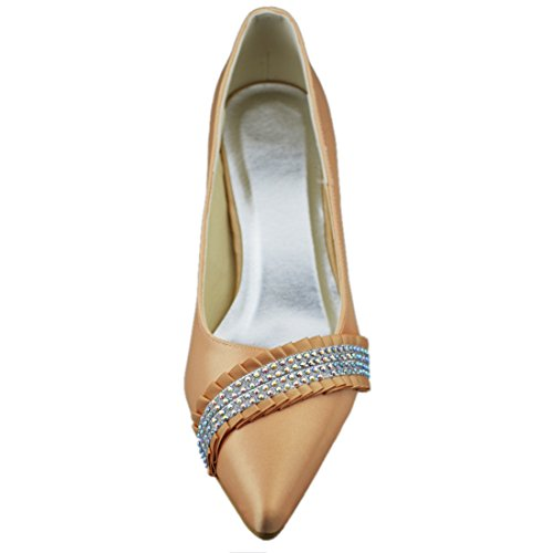 Minishion Dames Hoge Hak Satijn Avond Feest Bruids Bruiloft Fonkelende Kristal Schoenen Pumps Champagne-7cm Hak