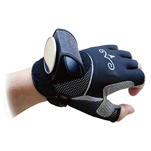 (Inf-way Rearview Mirror Cycling Gloves, Biking Riding Bicycle Wrist Safety Half Finger Gloves with Reflective Back Mirror (M))