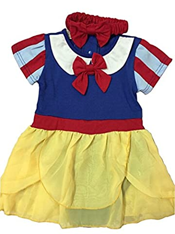 IWISHME Snow White Inspired Photo Prop Baby Girl Cotton Romper Dress & Headband (6-12 Months, Blue) - Snow White Pictures