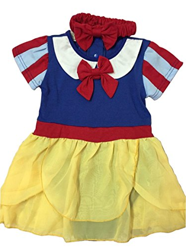 [IWISHME Snow White Inspired Photo Prop Baby Girl Cotton Romper Dress & Headband (6-12 Months, Blue)] (Snow White Props)