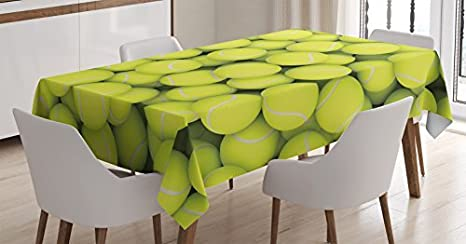 Amazon ambesonne sports decor tablecloth by heap of tennis ambesonne sports decor tablecloth by heap of tennis balls hobby happiness leisure competitive match lifestyle stopboris Image collections