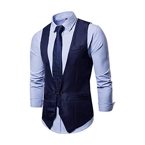 Yaxuan Men's Vest Gilet Costume Homme 2018 Formal Business Wedding Suit Vest Mens Slim Fit Single Breasted Waistcoat Male XXL,3,L