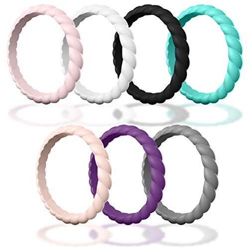 (Made for Her DSZ Stackable Silicone Wedding Rings for Women - Thin Rubber Bands for Active Women (Sand-Pink, White, Purple, Smoke-Grey, Royal-Black, Turquoise, Light-Pink, 5))