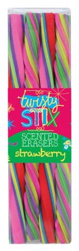 International Arrivals Twisty Stix Strawberry Scented Erasers, Set of 4 (112-4)