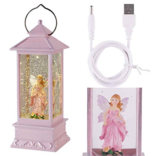 Snow Globe Lantern, Angel Snow Globe with Water Glittering Swirling Battery Operated-USB Cord Powered for Valentine's Day, Birthday, Home Party -