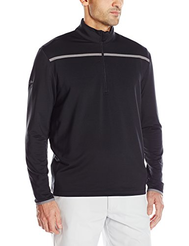 Callaway Men's Golf Chest Stripe Long Sleeve 1/4 Zip Mock Pullover, Black, 3X-Large