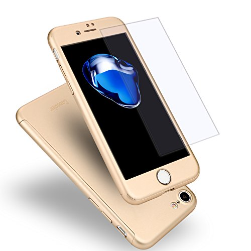 iPhone 7 Case, Coocolor 360 Degree All-Around Ultra Thin Full Body Coverage Protection Dual Layer Hard Slim Case + Tempered Glass Screen Protector for iPhone 7-Gold