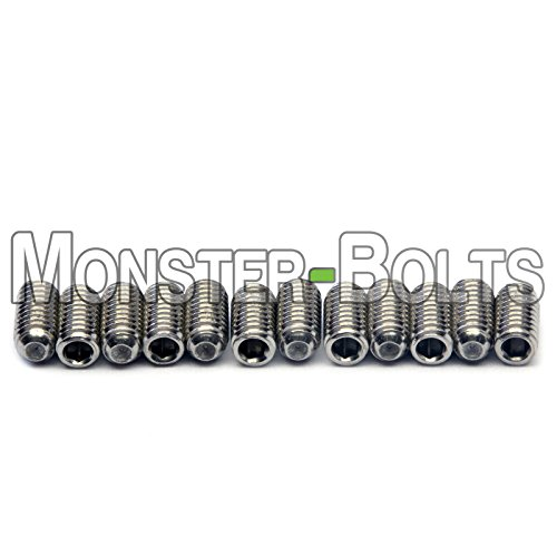 Guitar Saddle Bridge Height Adjustment Hex Screws set (12) for US/Inch and Metric - MonsterBolts (Metric - M3 x 6mm, Stainless Steel) (Saddle Height Screws)