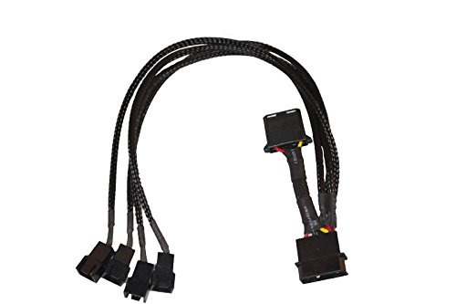 ModTek 4-Pin Molex to 4 x 3-Pin Fan Connector Cable (Power 4 Fans from 1 Molex Connection!)