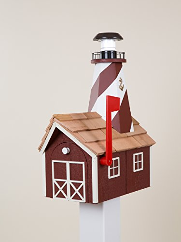 Lighthouse Solar Post Light (Solar Lighthouse Mailbox (Red with White Trim))