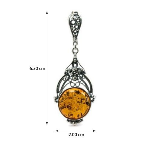 Honey Amber Filigree Sterling Silver Round Pendant