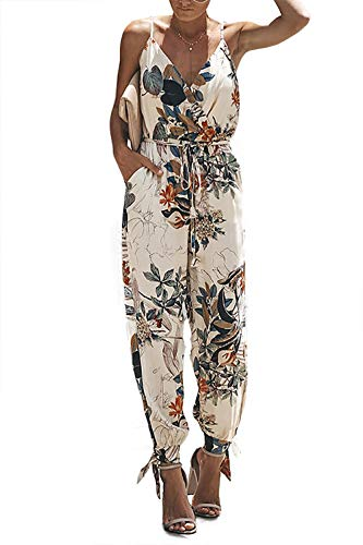 Alelly Women's Spaghetti Strap V Neck Floral Print Split Beam Foot Pants Jumpsuit Rompers