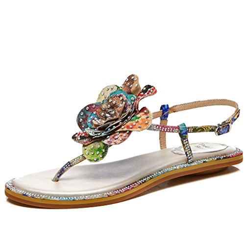 T Sandals Vacation Color Sandals Womens Ladies GAOLIXIA Shoes Rhinestone Leisure Satin Thong Strap Leather Sandals Roman Toe Clip Summer Flower TUvxHnxWwI