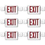 UL Listed- Señal de salida de emergencia con 2 luces de cabeza y baterías de copia de seguridad LED de doble cara, diseño de letra roja, luz de salida de emergencia estándar de EE. UU., Moderno, Paquete de 6, Rojo